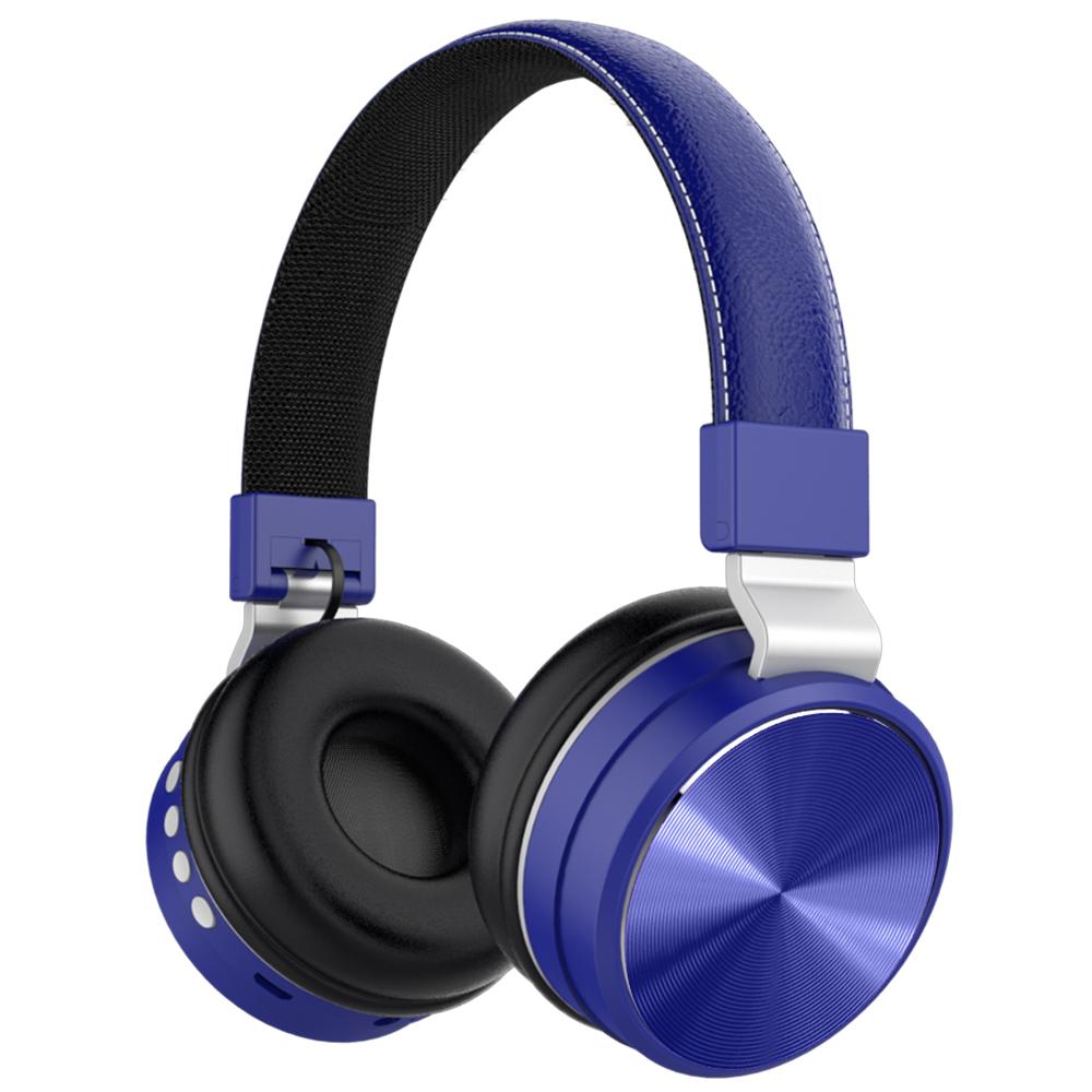 Wireless Headphones Bluetooth Over Ear FM Bass Sports Music Headset blue