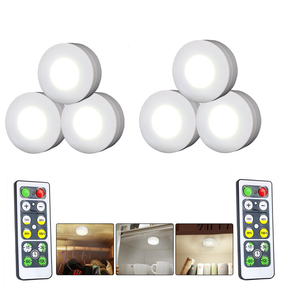 6Pcs LED Lights Stylish Closet Lights with Remote Control Pat Light Night Light for Lighting White light