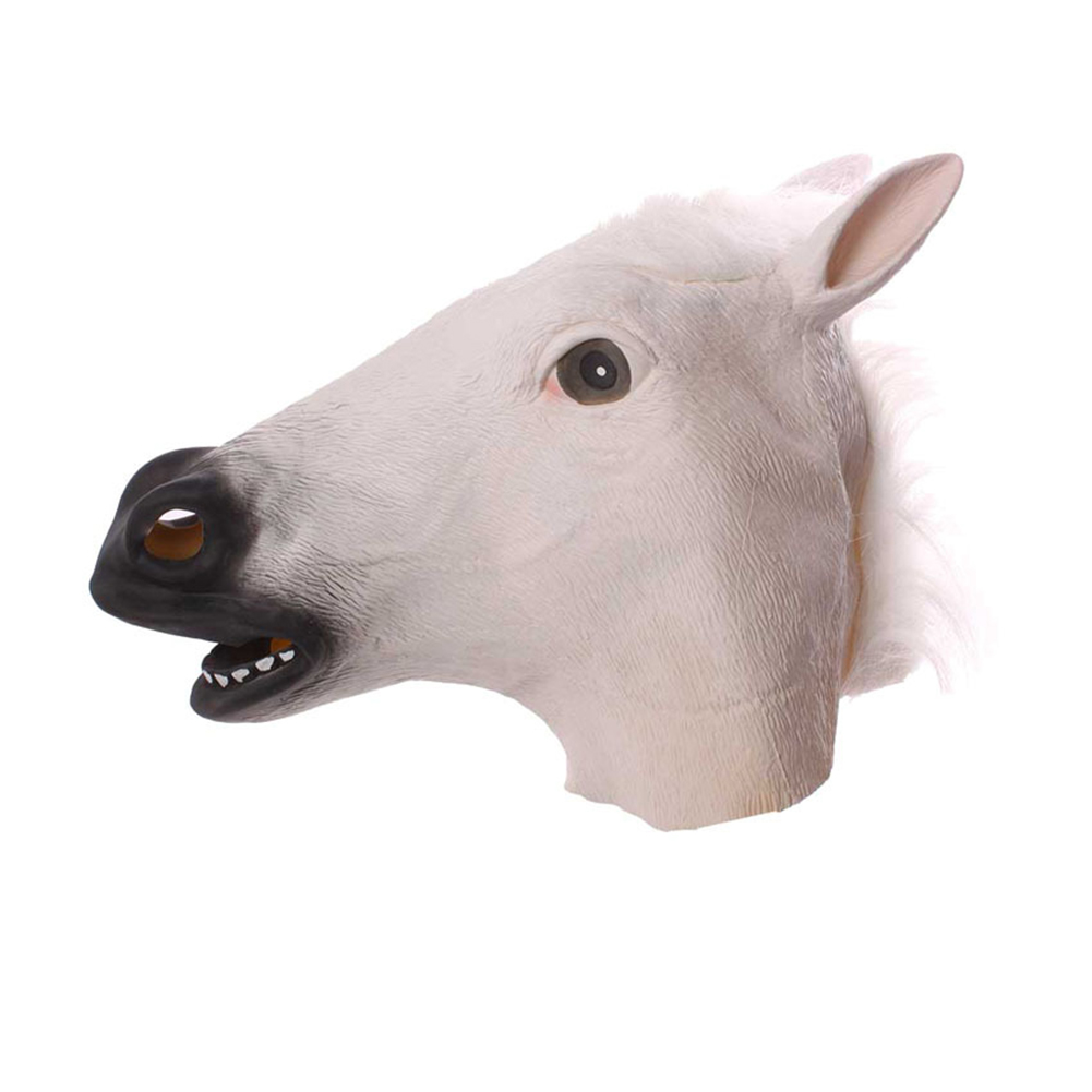 Mask Cosplay Masquerade Funny Halloween Mask Wig White horse head