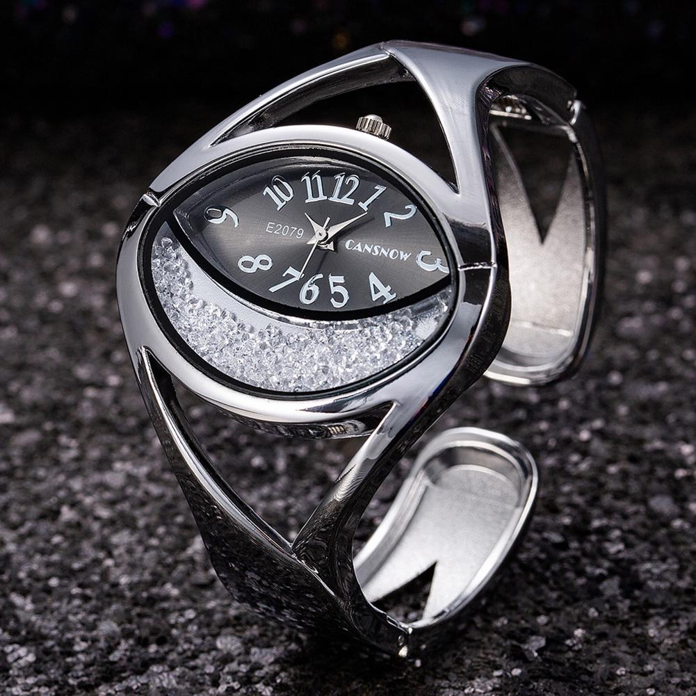 Women Ladies Fashion Silver Luxury Rhinestone Bracelet Watch Wristwatch black