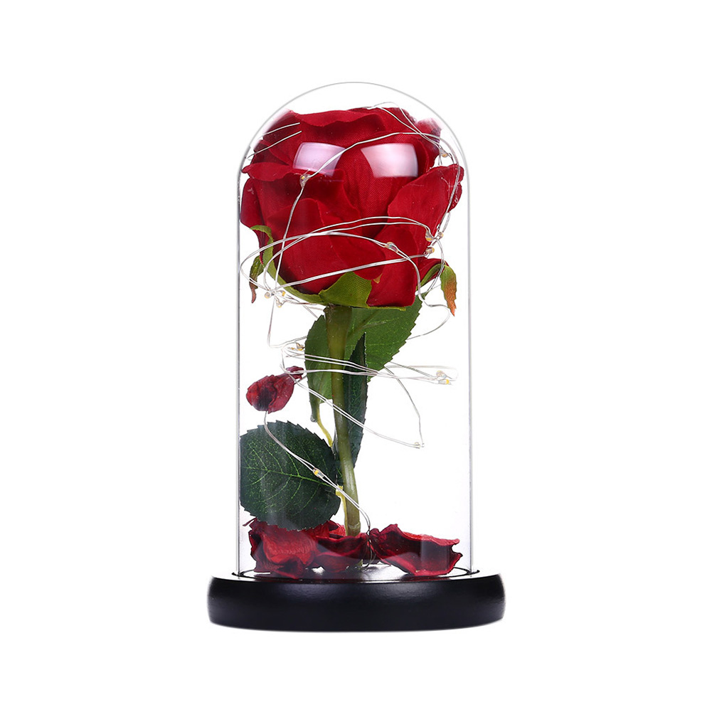 Rose LED Light Night Lamp Glass Dome Wedding Party Ornaments Valentine's Day Gift small