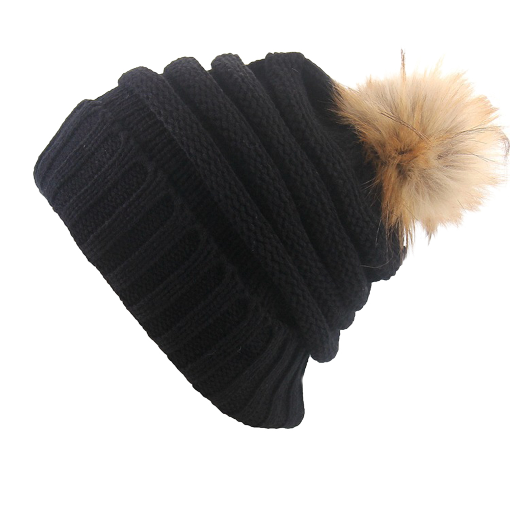 Women Thickened Woolen Hat with Big Hair Ball Knitted Cap for Winter Outdoor Activities Gift