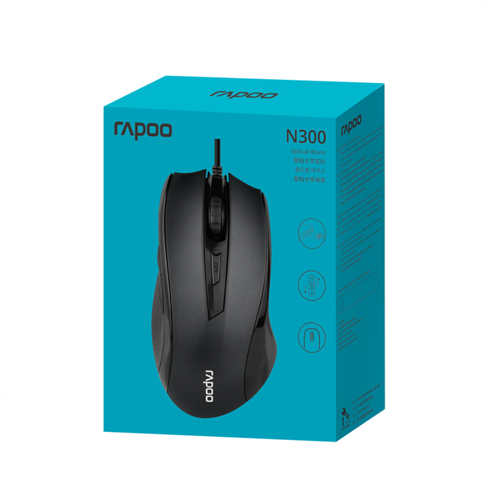 Rapoo N300 Optical Wired Gaming Mouse With 3 Levels Adjustable 2000 Dpi For Computer Home Office Black