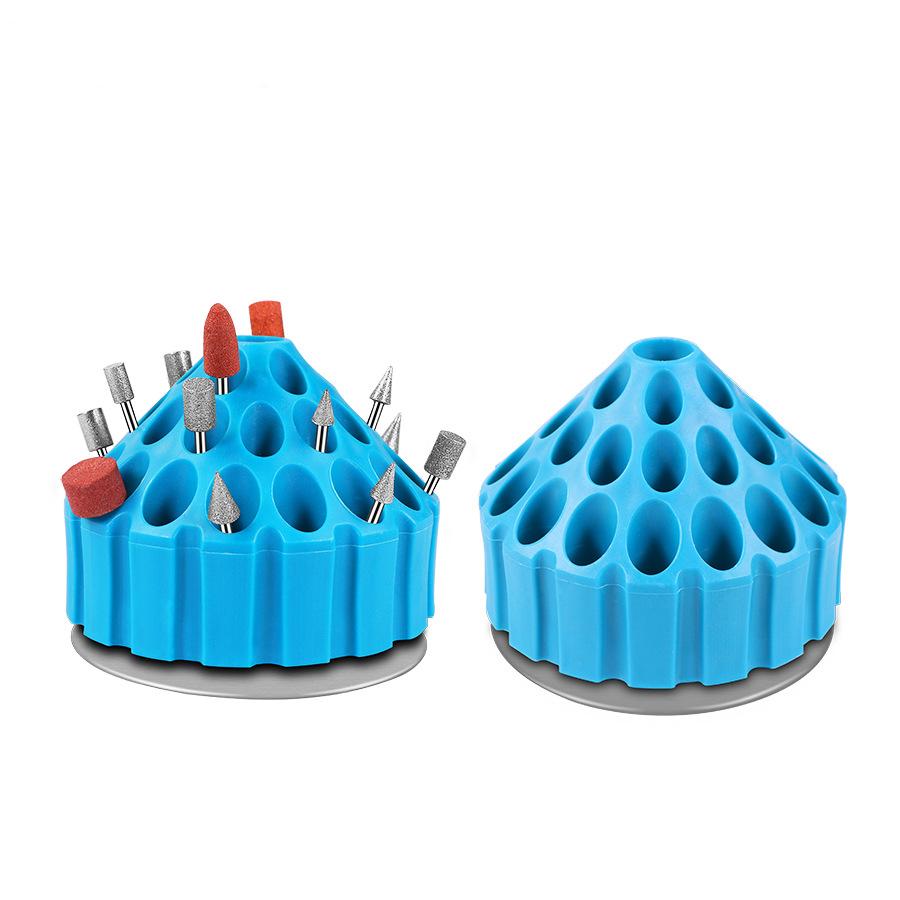 Dental Bur Holder Block Case 35 Holes 360 Degree Rotating Storage Box Dental Material for Dental Random colors