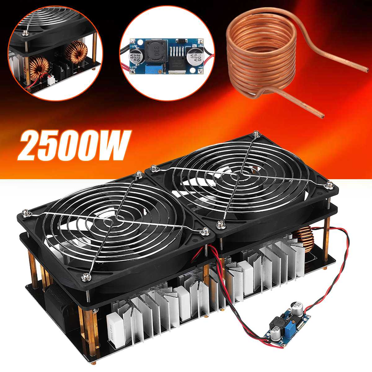 1800W/2500W ZVS Induction Heater Induction Heating Machine PCB Board Module Flyback Driver Heater Cooling Fan Interface+ Coil 2500W