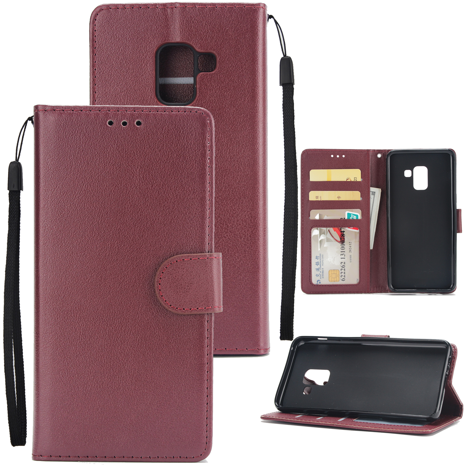 For Samsung J6 2018 PU Cell Phone Case Non-slip Shockproof Protective Case with Card Slot  Red wine