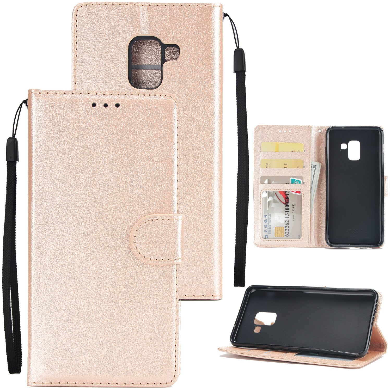 For Samsung J6 2018 PU Cell Phone Case Non-slip Shockproof Protective Case with Card Slot  Golden