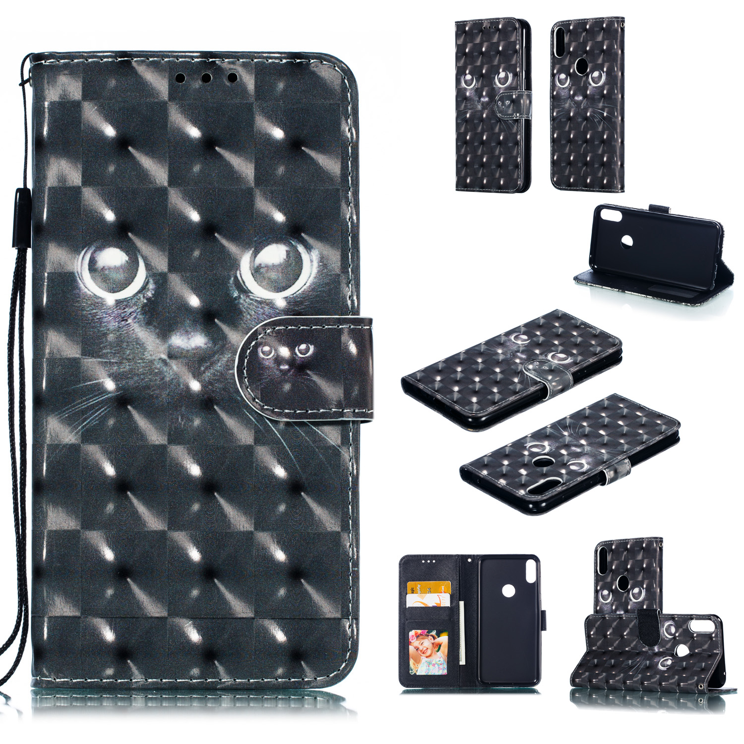For ASUS ZENFONE MAX Pro M1/ZB601KL/ZB602KL 3D Coloured Painted PU Magnetic Clasp Phone Case with Card Slots Bracket Lanyard black eyes
