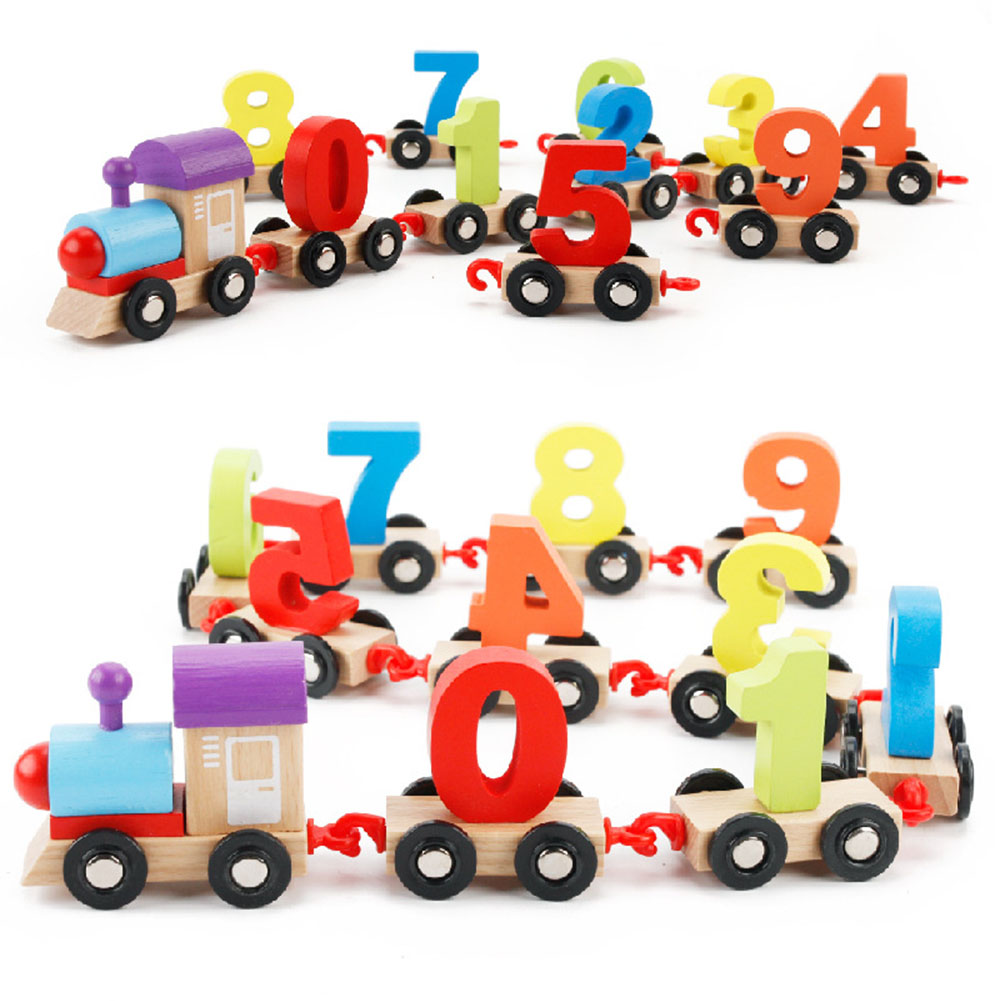Wooden Digital Geometric Matching Blocks Colorful Small Train Educational String Toy Xmas Gift for Kids