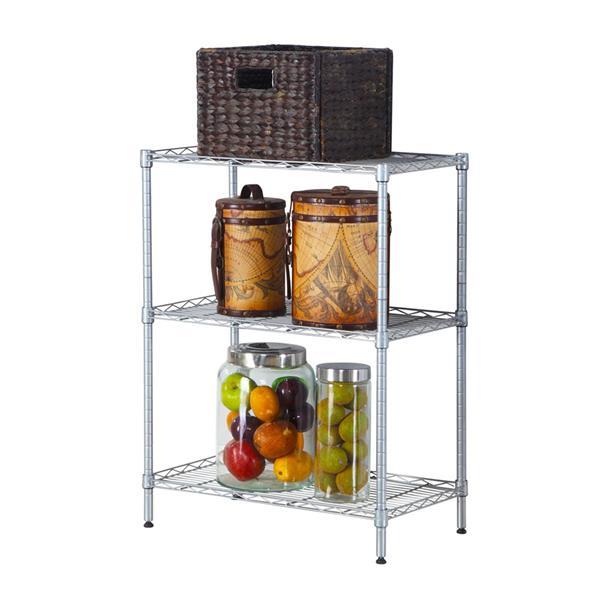 [US Direct] 3-shelf Adjustable Heavy Duty Storage Shelving Steel Organizer Wire Rack Silver