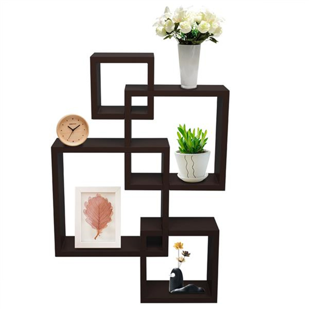 [US Direct] Mdf 4-in-1 Combination Wall  Shelf Wall-sticking Holder Household Furniture Dark brown
