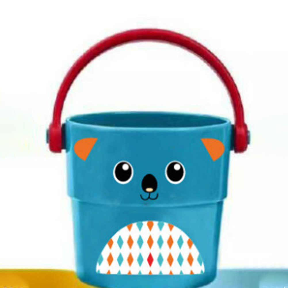 Mini Bath bucket Toy Small Bucket Miniature Dollhouse Accessories Simulation Pail Model Toys blue puppy