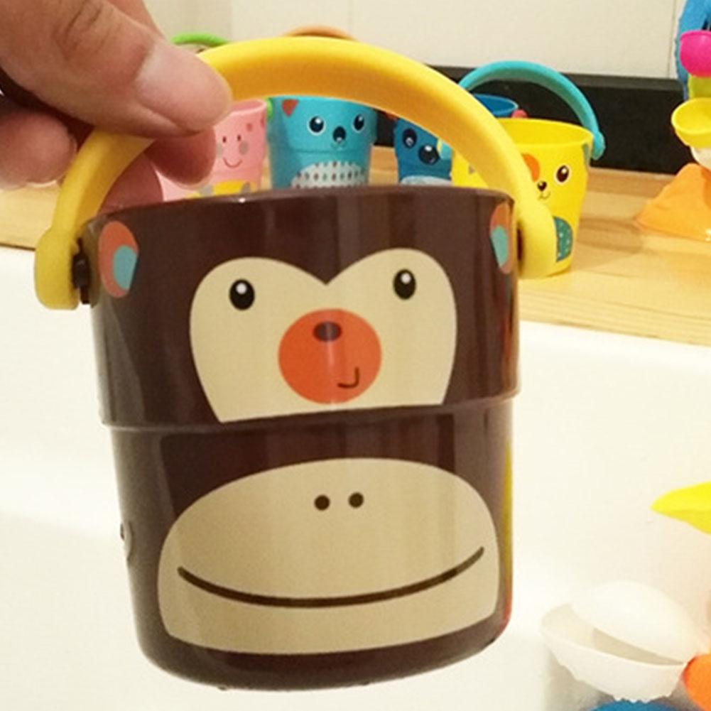 Mini Bath bucket Toy Small Bucket Miniature Dollhouse Accessories Simulation Pail Model Toys brown