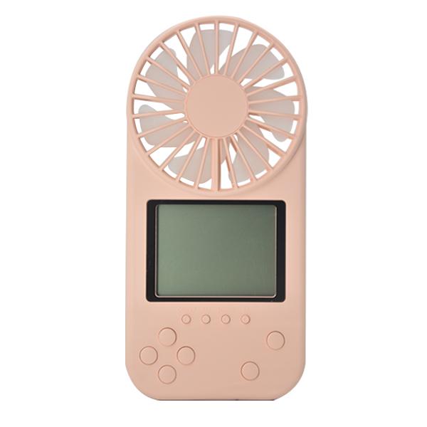 Mini Portable Fan Game Console Handheld Vidoe Game Console Built-in Fun Games Pink