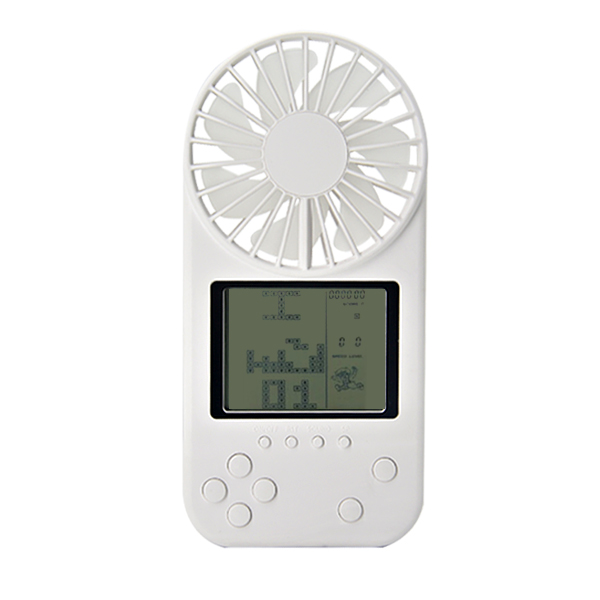 Mini Portable Fan Game Console Handheld Vidoe Game Console Built-in Fun Games white