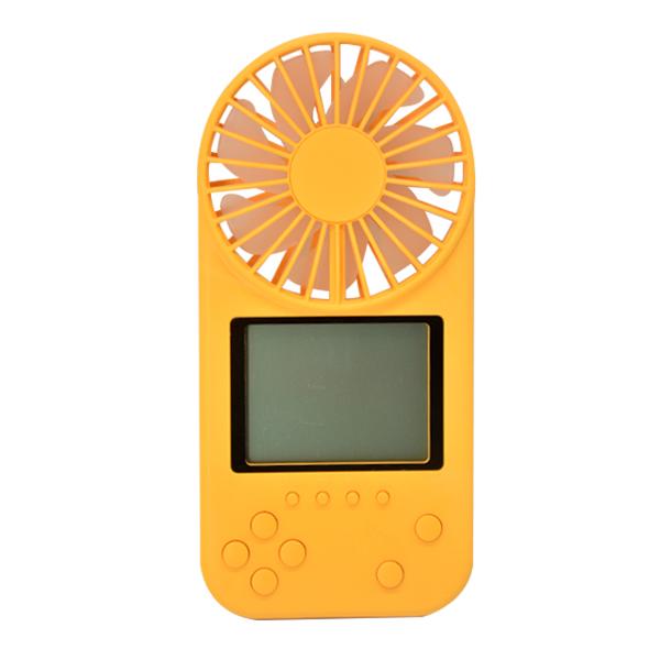 Mini Portable Fan Game Console Handheld Vidoe Game Console Built-in Fun Games yellow