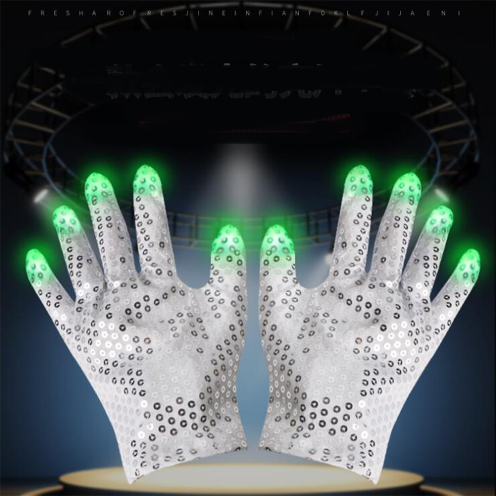 Halloween Costume Props Sequins Decoration LED Coloful Lights Glowing Gloves As shown