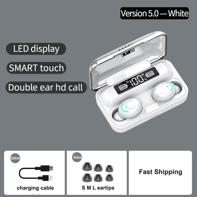 F9-5 TWS Bluetooth Earphones 5.0 Wireless Headphone 8D Bass Stereo In-ear Earbuds Handsfree Headset Built-in Microphone with 2000mAh Charging Case white