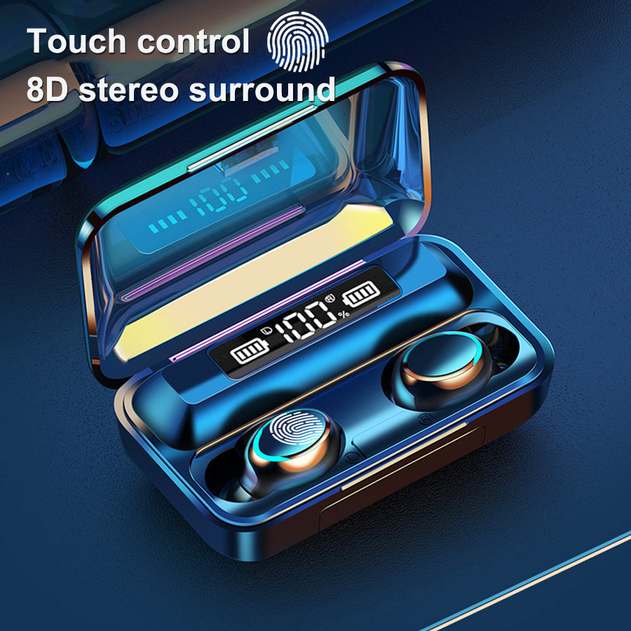 F9-5 TWS Bluetooth Earphones 5.0 Wireless Headphone 8D Bass Stereo In-ear Earbuds Handsfree Headset Built-in Microphone with 2000mAh Charging Case black