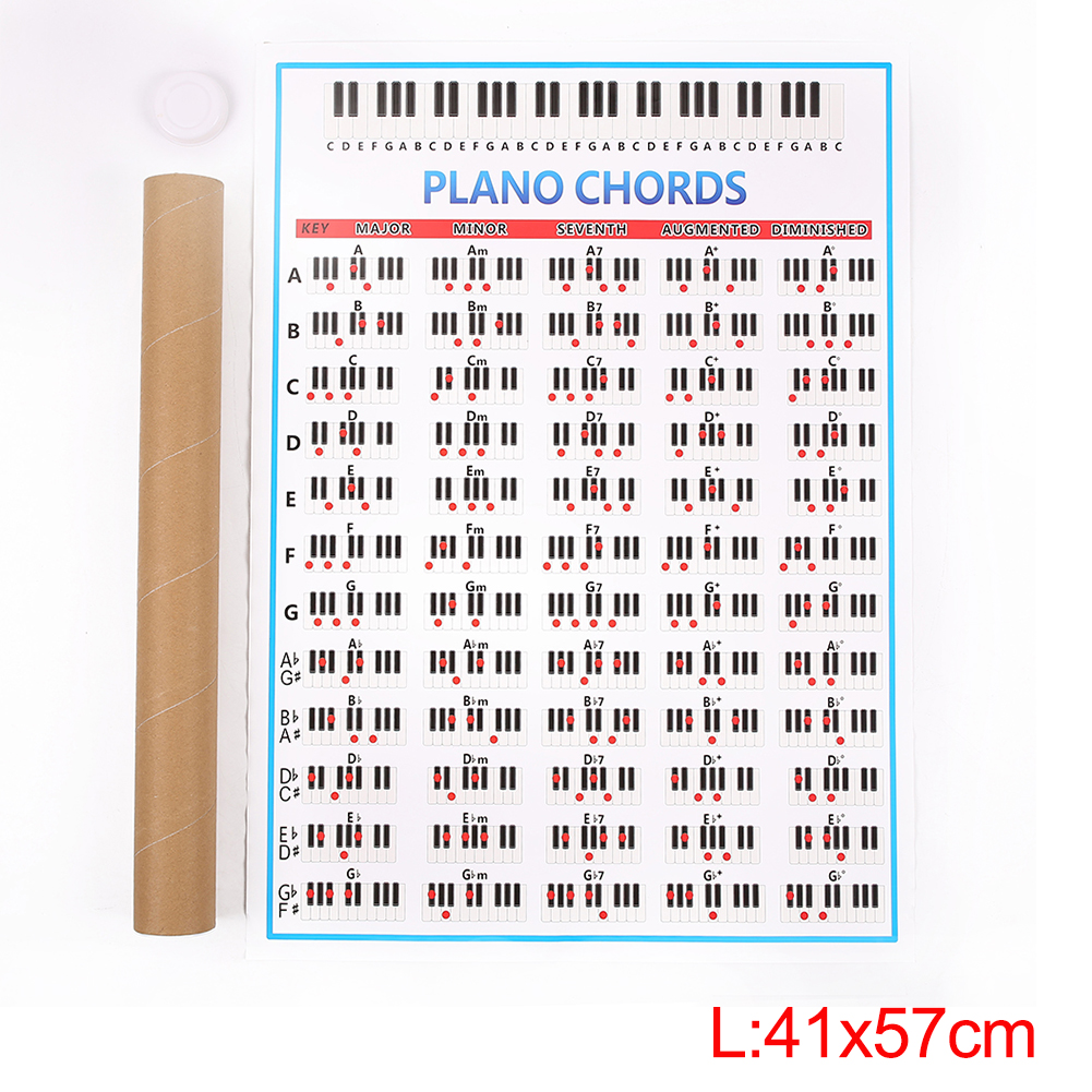 Student Piano Chord Practice Chart Beginner Learning Fingering Poster Teachers Music Lessons Teaching Guide Chart L; 41*57cm_Paper tube packaged