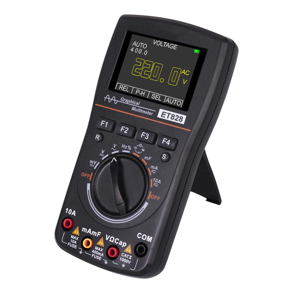 Et828 Intelligent Digital Oscilloscope Auto Range Graphical Multimeter 2.4inch Screen 1mhz 2.5msps Waveform For Electronic Test gray