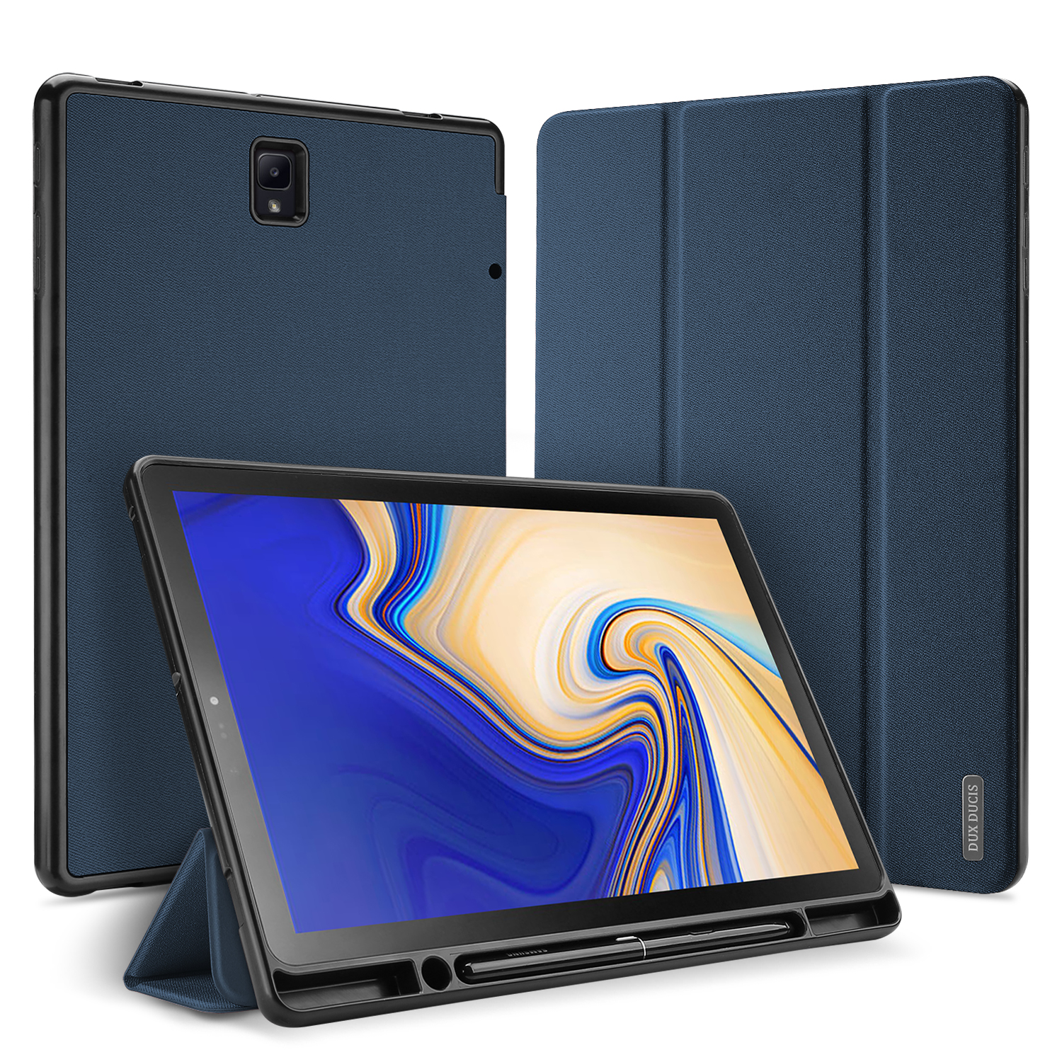 DUX DUCIS For Samsung TAB S4 10.5 Simple Solid Color Smart PU Leather Case Anti-fall Protective Stand Cover with Pencil Holder Sleep Function  blue_Samsung TAB S4 10.5