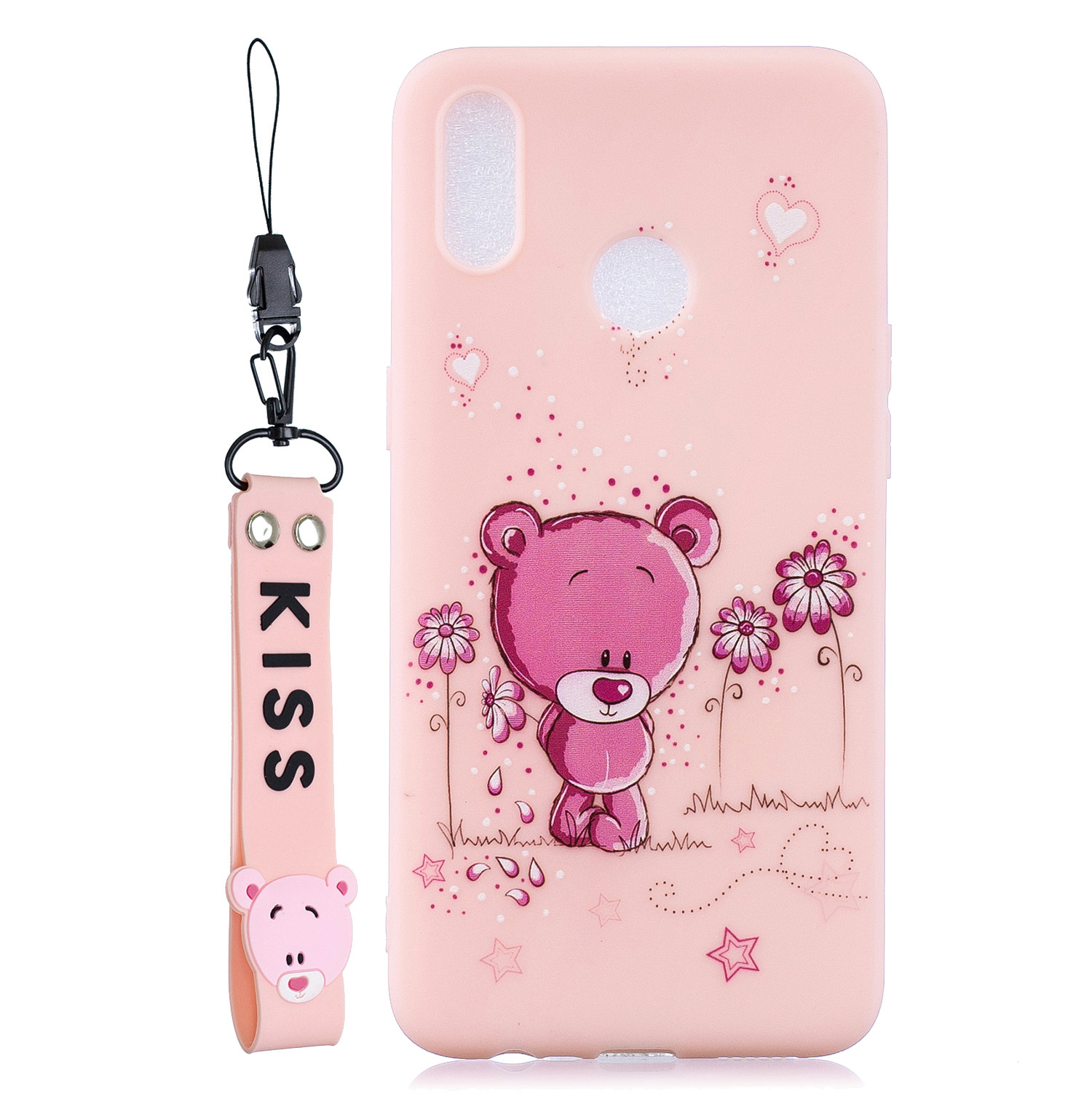For OPPO Realme 3 Cartoon Lovely Coloured Painted Soft TPU Back Cover Non-slip Shockproof Full Protective Case with Lanyard Light pink