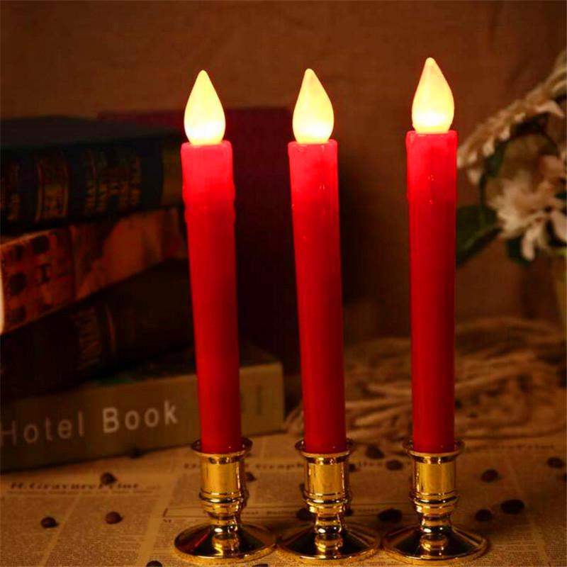 2Pcs/set LED Simulation Candle Christmas Electronic Light Candlestick Wedding Party Decoration  red candle light
