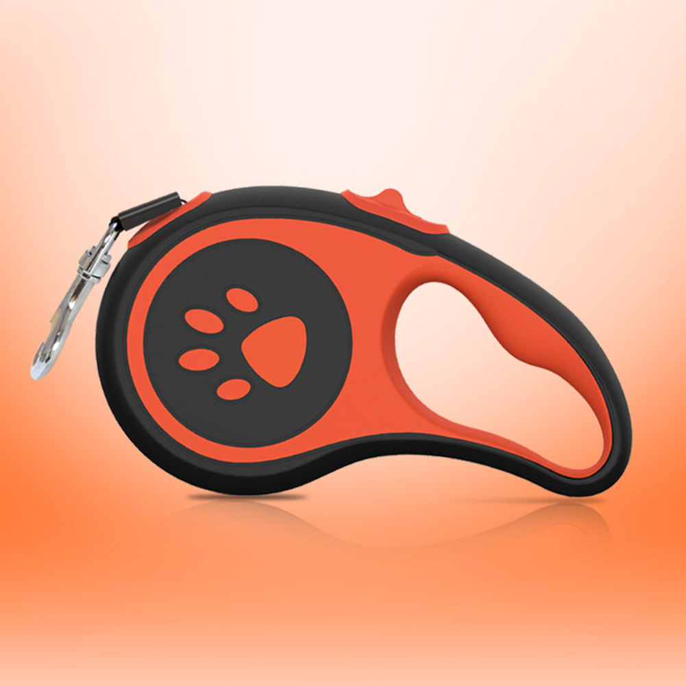5m Dog Retractable Tractor Automatic Lead Pet Traction Rope Twine-Free Heavy Duty Walking Leash One-Handed Control Orange_5m