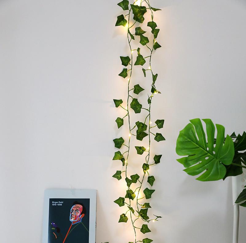 LED Artificial Plants String Light Green Maple Leaves Lamp Garland DIY Battery Powered Hanging Lighting  Maple leaf green_2m 20LED