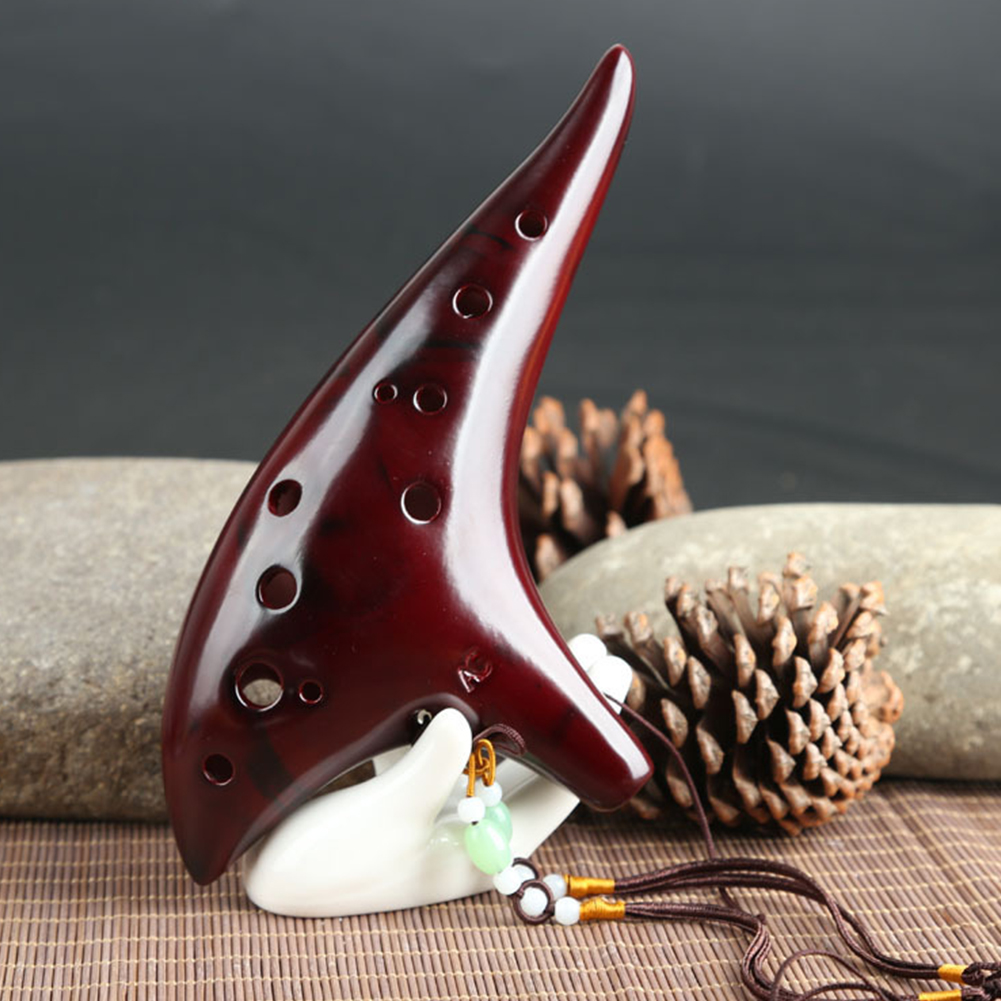 Classic 12 Hole Ceramic Ocarina Woodwind Instruments Flute red
