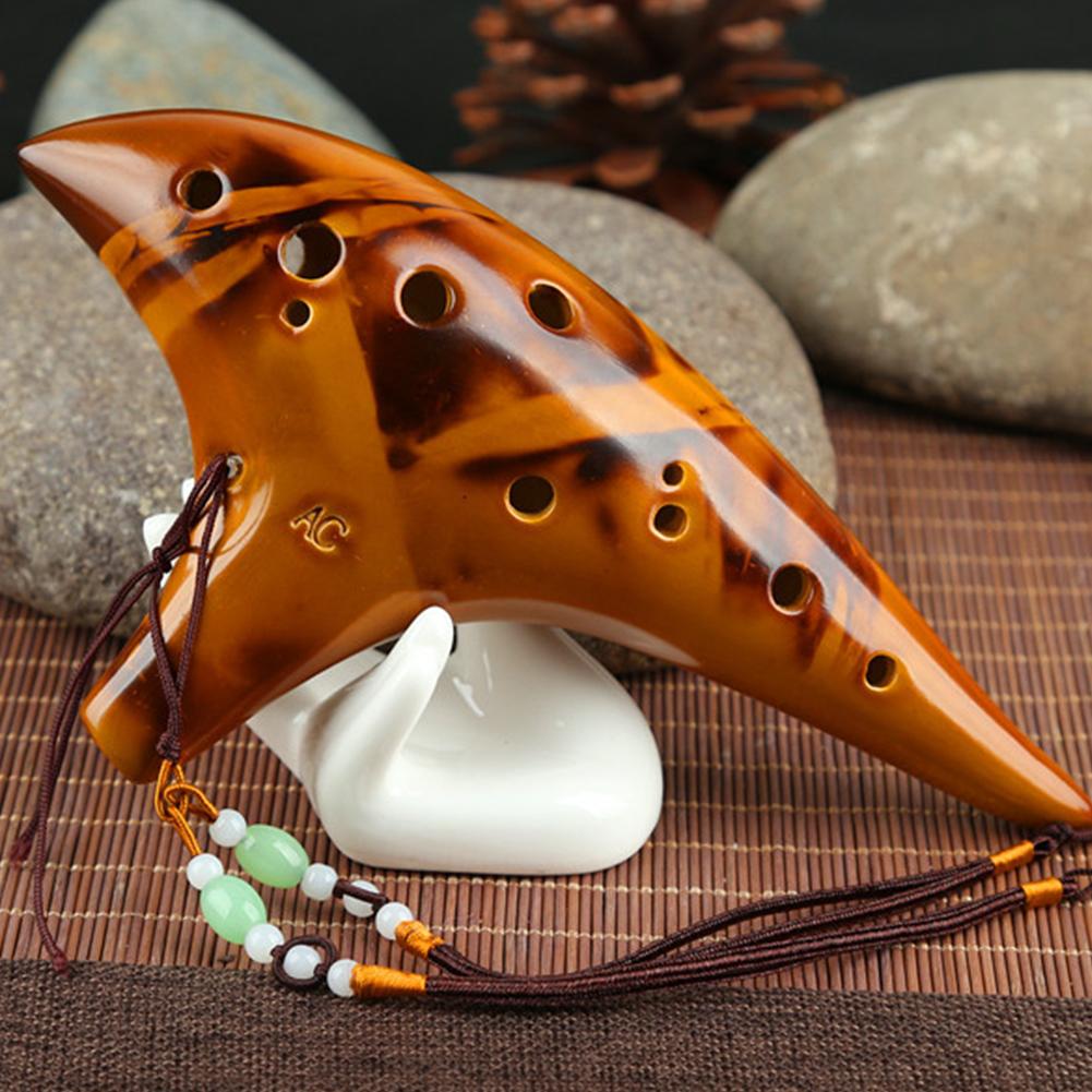 Classic 12 Hole Ceramic Ocarina Woodwind Instruments Flute yellow
