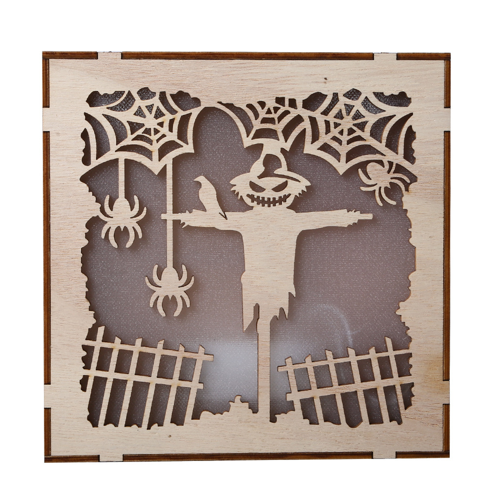 Wooden Hollow Hanging Pendant Pumpkin Haunted House LED Lights 3D Halloween Party Decoration Crafts JM01497