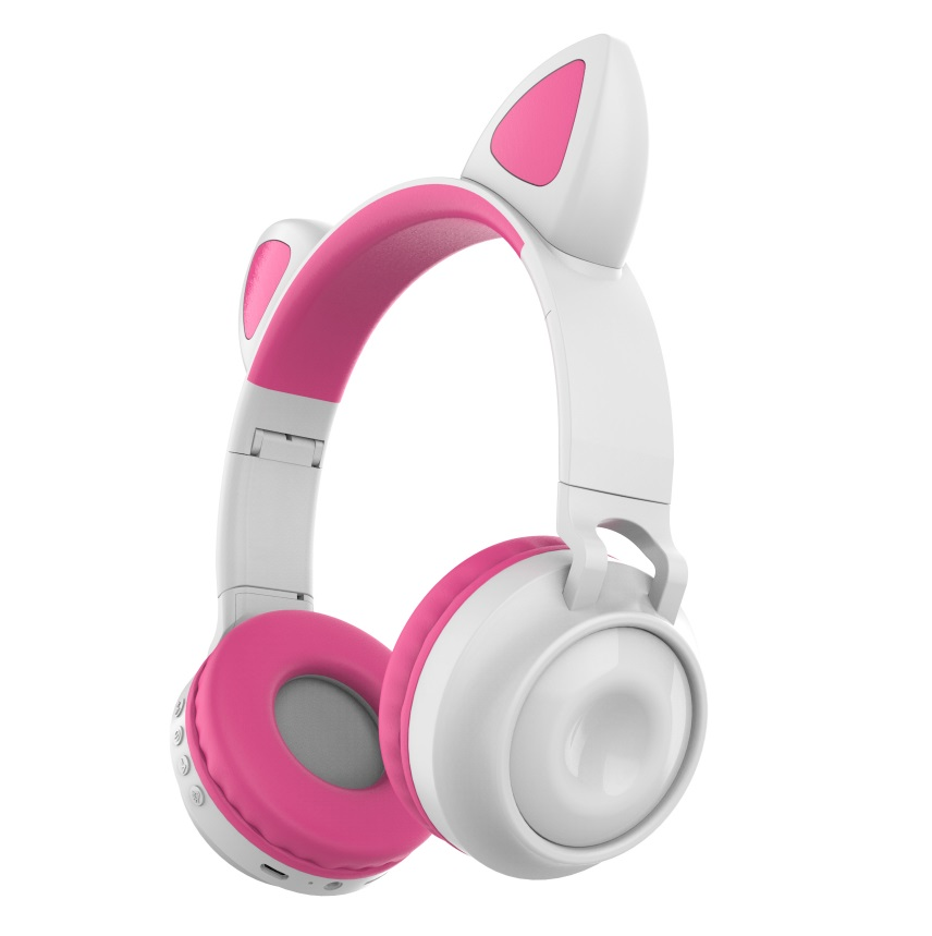Bluetooth 5.0?Ear Headphones Foldable Stereo Wireless Set Mic LED Light Volume Control Support For Kids red