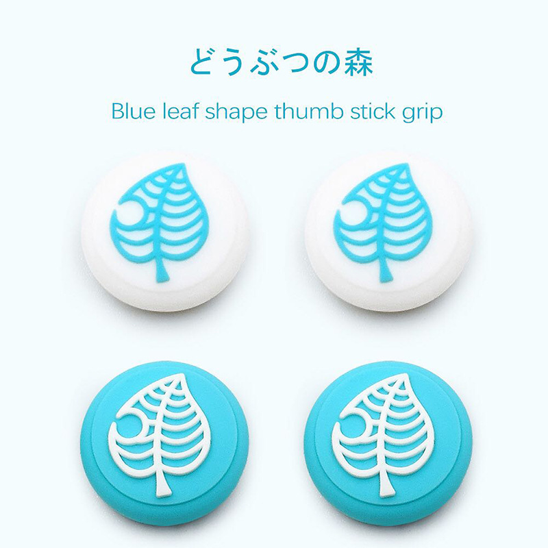 Switch Animal Crossing Thum Grip Cap Silicone Rocker Cap for Nintendo Switch Accessories White + blue