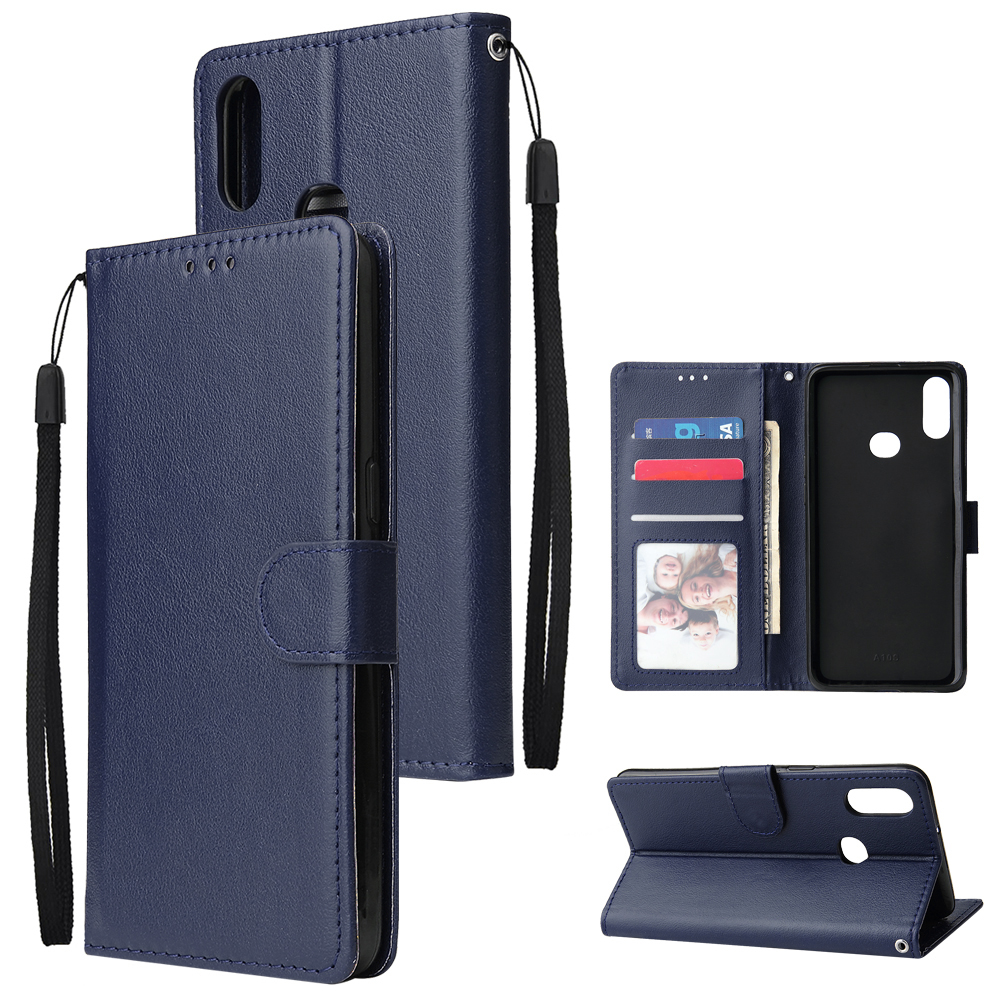 For Samsung A10S A20S Cellphone Cover Mobile Phone Shell Buckle Closure Cards Slots PU Leather Smart Shell with Wallet Overall Protection blue