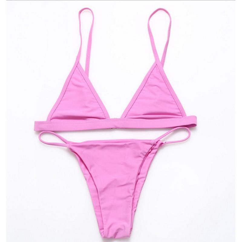 Women's Pure Color Sexy Swimsuit Two Piece Bikini Sexy Bra + Triangle Pants