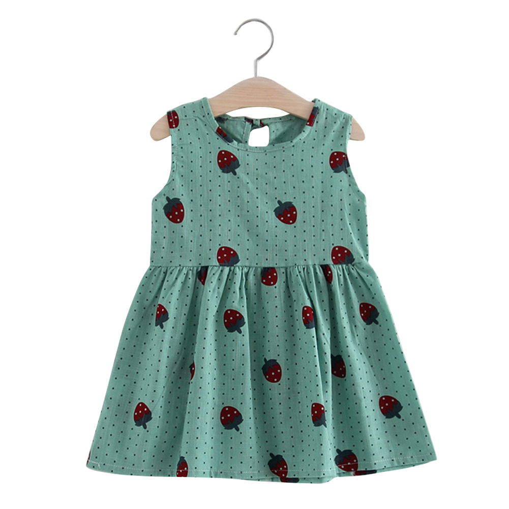 Girl Cute Strawberry Sleeveless Cotton Princess Flax Dress for Summer Green-strawberry vest skirt_130cm