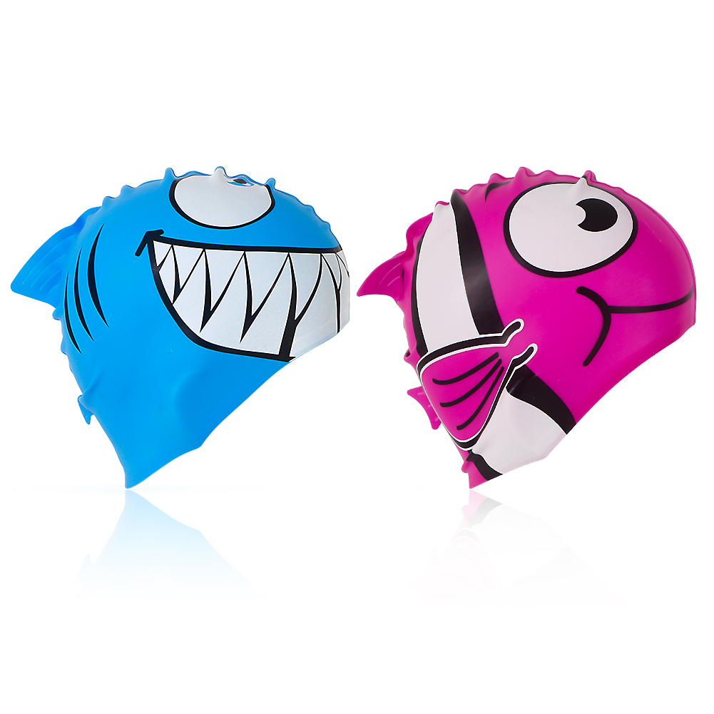 MOUNCHAIN Premium-Quality Silicone Swimming Cap, High Elastic & Durable Swimming Cap for Children, Sharks & Golden Fishes, 2 Pack