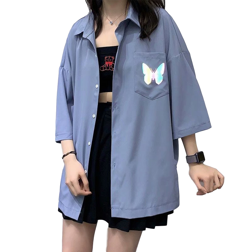 Men's Shirt Summer Large Size Loose Short-sleeve Uniform Shirts with Tie Blue _L