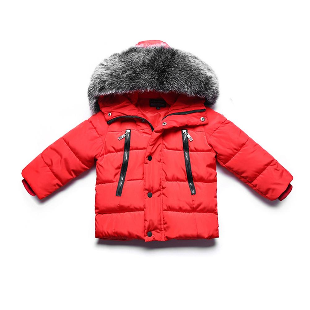 Winter Kid Thicken Cotton Hoodie Coat Furry Collar Zipper Boy Girl Overcoat red_90cm