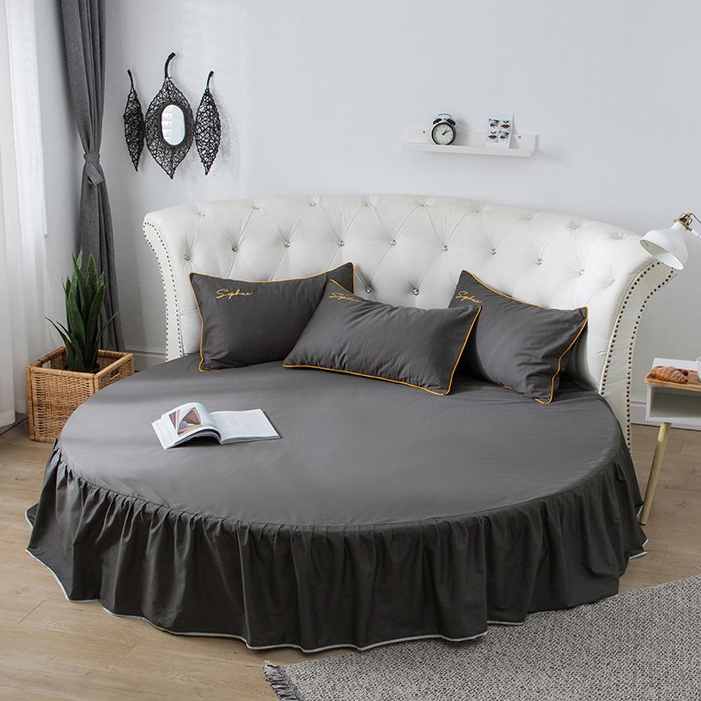 Round Cotton Bed Skirt Bedspread for Home Hotel Sleeping Decoration Dark gray
