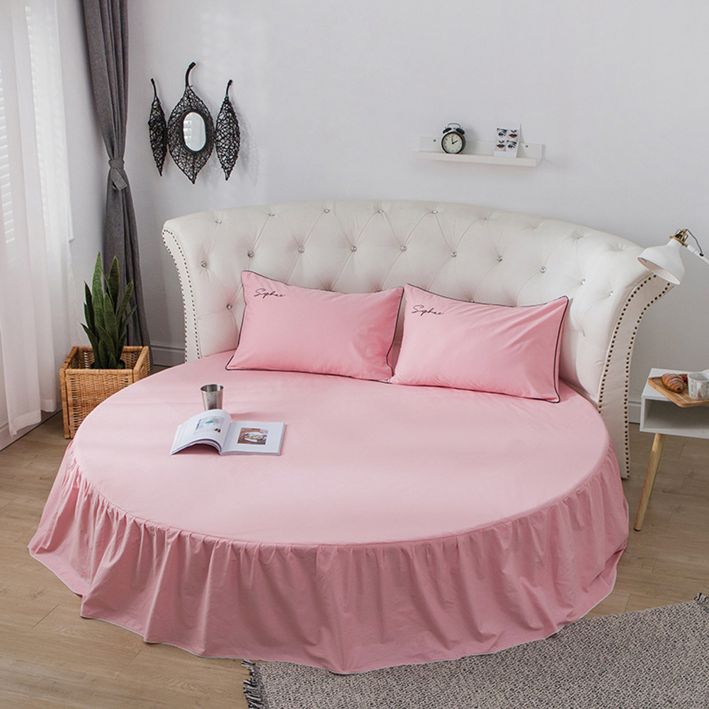 Round Cotton Bed Skirt Bedspread for Home Hotel Sleeping Decoration Cherry blossom pink