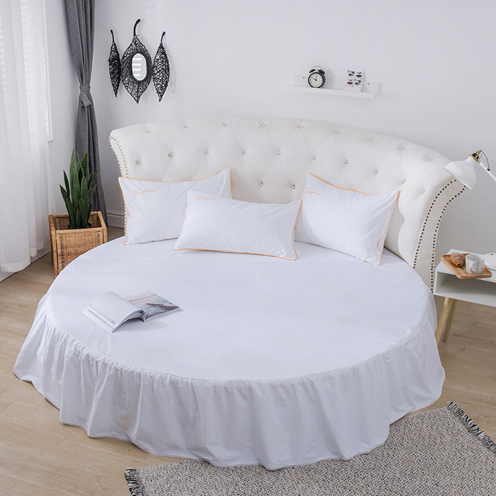 Round Cotton Bed Skirt Bedspread for Home Hotel Sleeping Decoration Pearl White