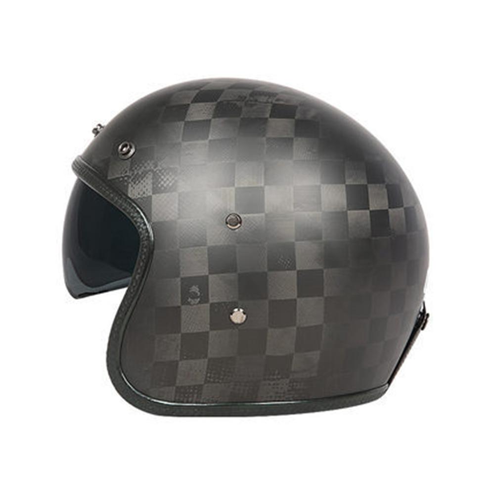 Retro Helmet Carbon Fibre Half Helmet Half Covered Riding Helmet Matte 24K carbon fiber L