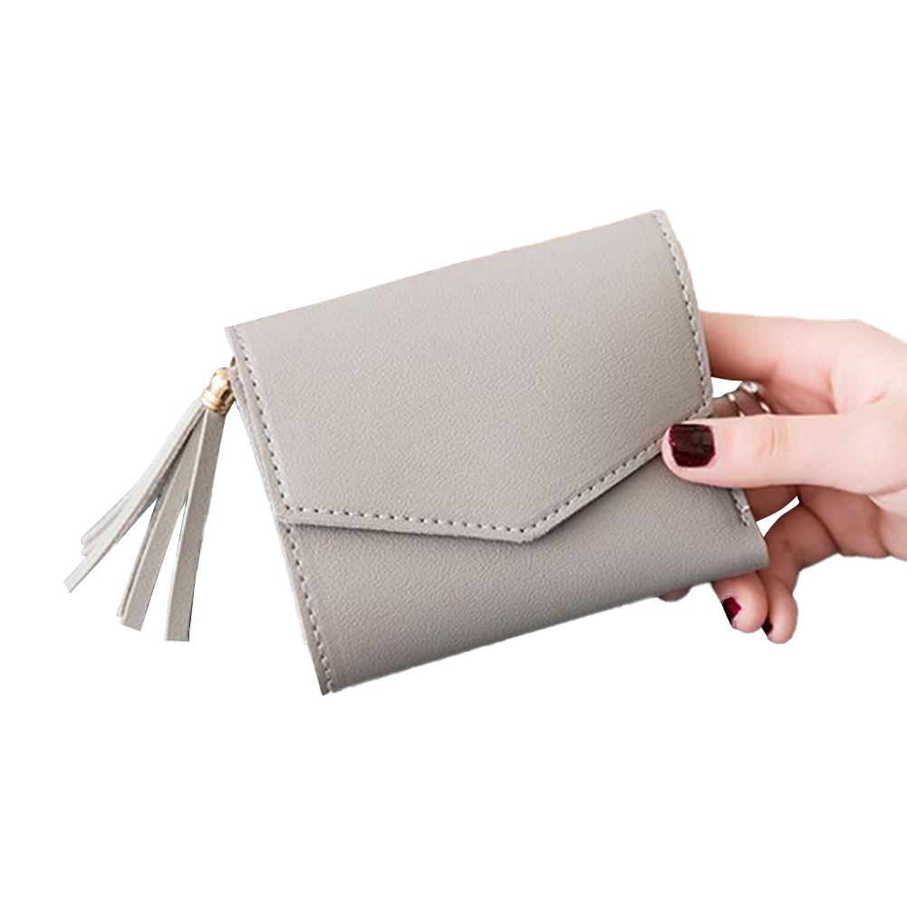 Women Short Wallet 3-folds Tassel Solid Color PU Leather Magnetic Buckle Square Purse gray