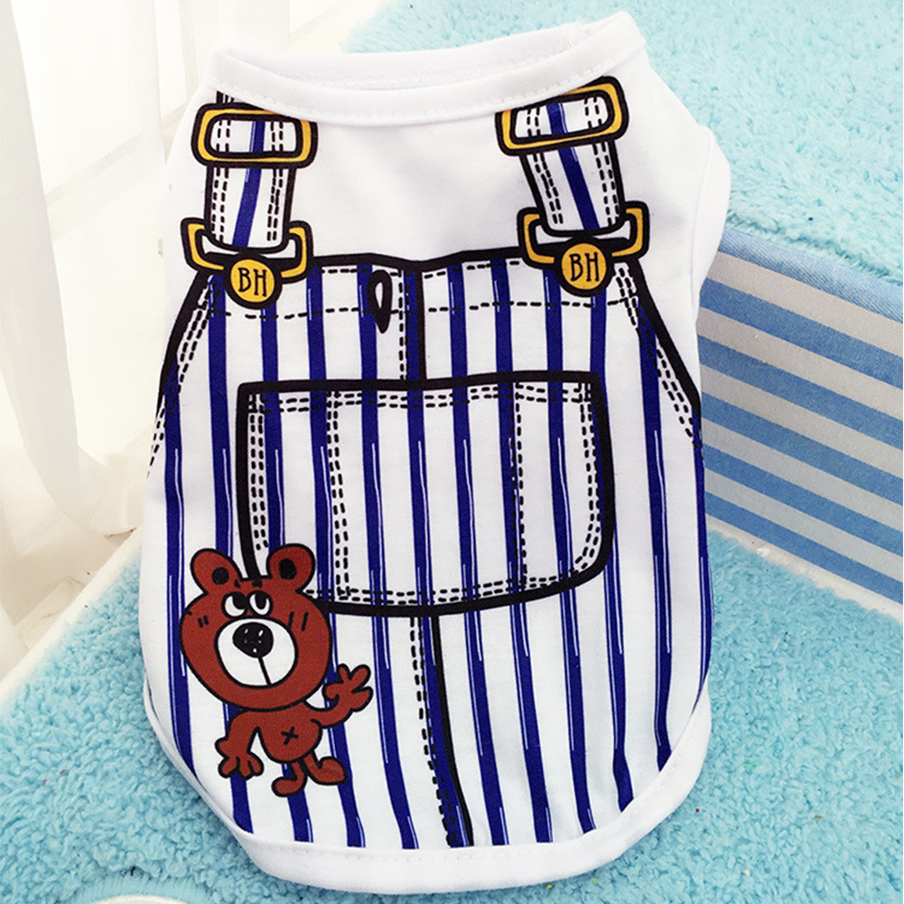 Cute Pet Vest Dog Cat Apparel Clothes with Overalls Design for Spring & Summer 5 Sizes for Choice Dark blue_M