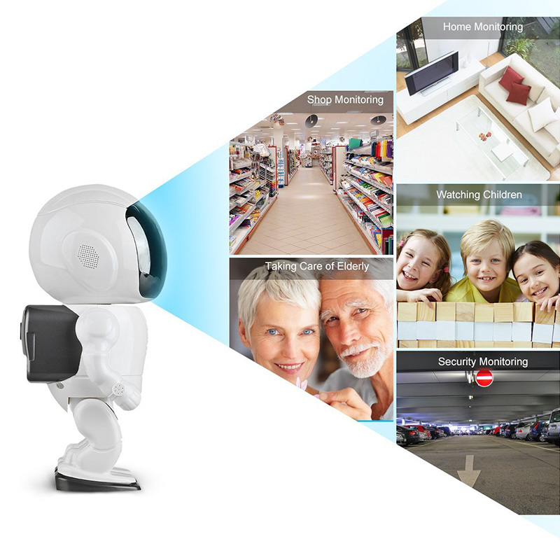 Wireless IP Camera - Robot Shaped, Pan & Tilt, 1280x960, Two-Way Audio, Phone App, Alarm Notification, Motion Detection