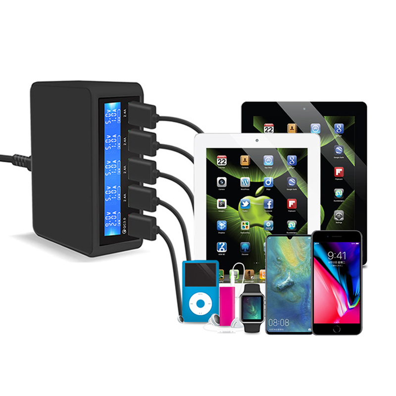 50W Quick Charge 5 Port USB Charger black US