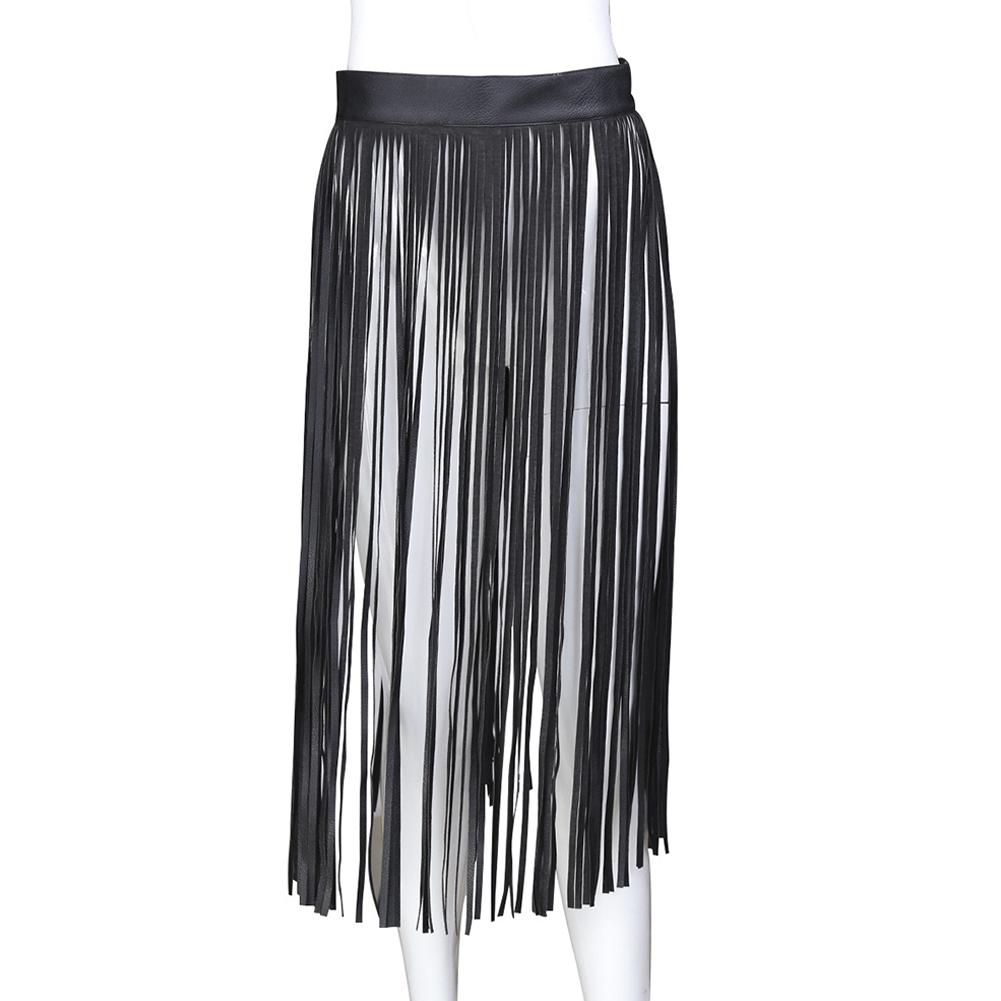 Women's Imitation Leather Fringe Tassel Skirt with Adjustable Waistband Belt Punk Adult Sex Game  black - L